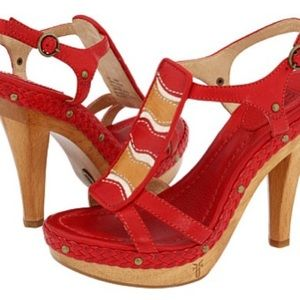 Frye Dara Canvas Red Sandals
